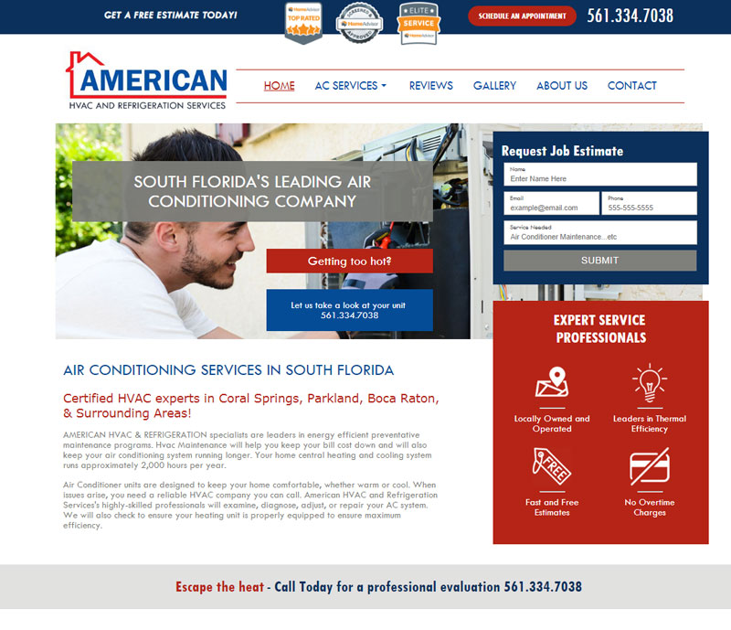 American hvac and refrigeration services homepage