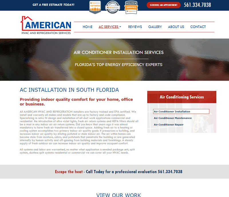 American hvac and refrigeration services ac installation