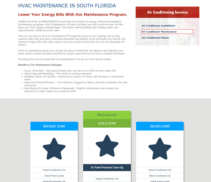 American hvac and refrigeration services maintenance plans