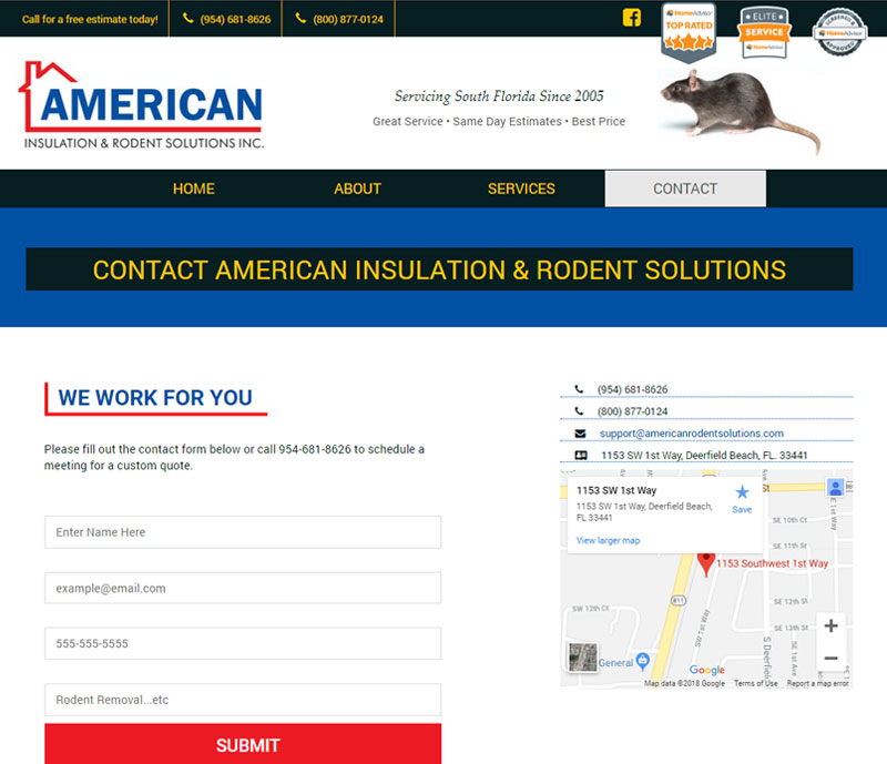 American insulation and rodent solutions contact page