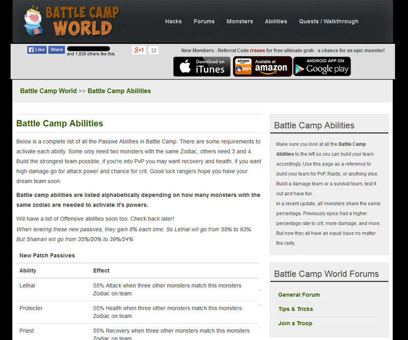 battle camp world abilities page